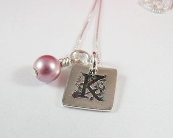 Personalized Necklace Sterling Silver PMC Initial Necklace - Tiny Initial Metal Clay Jewelry - Necklaces - Personalized Initial Necklace