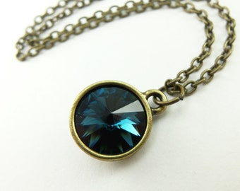 Dark Blue Necklace Montana Blue Necklace Antiqued Brass Crystal Modern Necklace