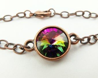 Rainbow Copper Bracelet Chain Bracelet Multi Colored Crystal Antiqued Copper Bracelet