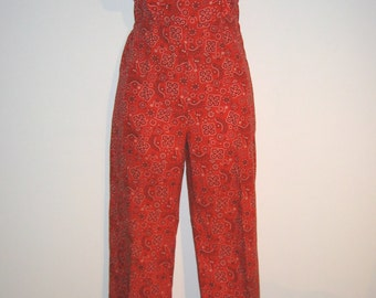 1970's Bandana, Hippie, Romper, Jumpsuit.  Ruffle Bib Front. Size Small.  Made in California.  Red