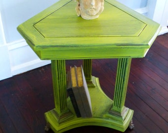 Table HIP Chartreuse Triangle Accent Table Vintage Poppy Cottage Painted Furniture