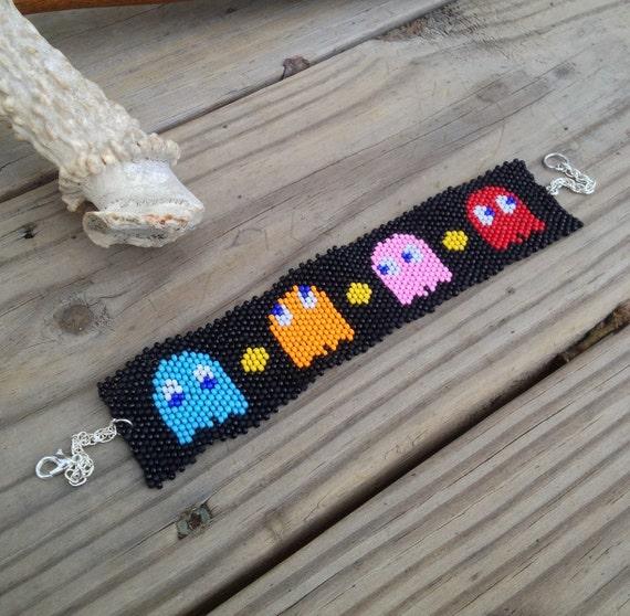 Four Little Ghosties - Retro Video Game Inspired Pac Man Villain Beaded Bracelet