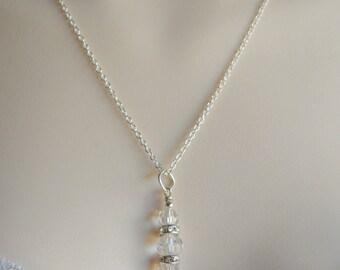 Crystal and rhinestone wedding necklace, drop necklace, bridal necklace