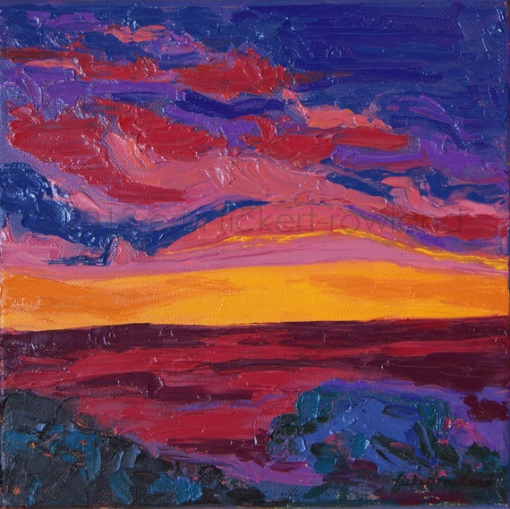 Impression Sunset Modern Abstract Painting- Original Oil on Canvas Seascape Landscape by Erin Fickert-Rowland