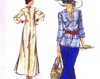 very easy vogue pattern 8858 - misses top and dress - (1970s) - UNCUT
