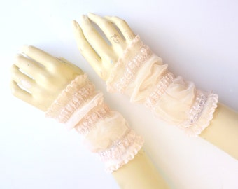 Bridal Fingerless Lace Gauntlets Pale Pink Floral Ruffle Wedding Gothic Victorian Tribal Belly Dance Noir Bridal SM/MED