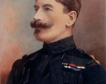 1900, Major-General Brabazon, Large Antique Print, Army 88, Military Moustache, Uniform Commander, Frameable Art