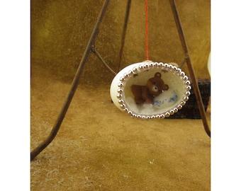 Little Bear Diorama Egg Decoration - Sweet Sleeping Bear Miniature Scene - Handmade Diorama Egg Art Ornament