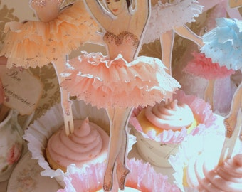Darling Dancers. Twelve Vintage Style Ballerina Doll Toppers with Ruffled Tutus, Choice of Colors