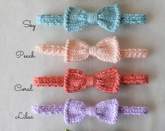 KNIT- For Baby - Mini Bow Headband (One) - choose size and color