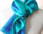 Hand Painted Silk Scarf in Bright Ocean
