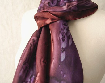 Silk Scarf Hand Dyed in Brown and Plum Purple