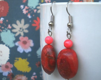 Red and Pink Lovely Ladybug Earrings