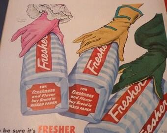 Vintage Ad - - Fresh Bread - - 1950s original ad - Put on Your Best Gloves