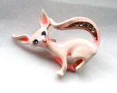 1 Vintage 1960's Enamel Pink Rhinestone Fox Brooch // 50s 60s Fox // NOS Jewelry