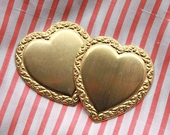 3 Large Vintage Brass Valentine Stampings // Rococo Hearts