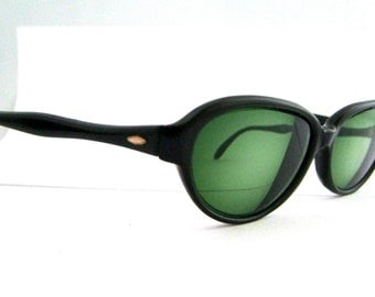 1950s Cats eye  Eyeglasses // 50s  Vintage Frames // Hollywood Pin Up //  Black // USA