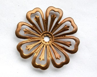 3 Vintage 1950's Antiqued Art Deco Brass Flowers