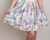 Scalloped Floral Skirt - Vintage 1980s Cotton Blend Pastel Skirt - XS