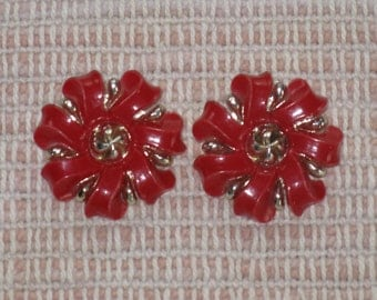 CLEARANCE SALE - Vintage Red and Silver Floral Clip Earrings  (E-1-3)