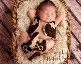 Cowboy boots and vest  - baby cowboy boots -  cowboy vest - photo prop