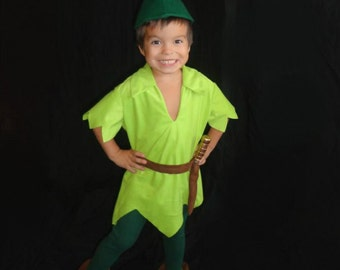 Peter Pan Costume Child Size Faux Lime Green Suede Tunic Green Felt Alpine Hat Red Feather Green tights faux suede belt sword sheath