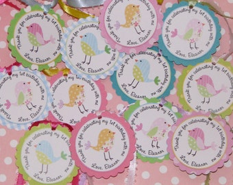 Bird Favor Tags BIRTHDAY or BABY SHOWER -set of 12