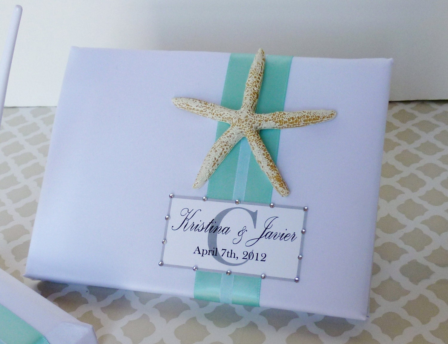 wedding guest book personalized beach theme starfish white