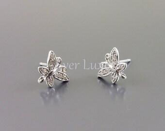 Playful butterfly earrings, silver earrings, Cubic Zirconia earrings, rhodium plated brass sterling silver posts 1726-BR (silver, 1 pr)