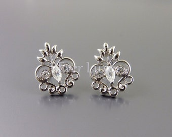 2 Heart filigree CZ Cubic Zirconia earrings, earring components for earring making / jewelry making 1727-BR (bright silver, 2 pieces)