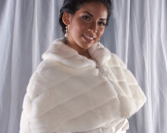 Winter Wedding Faux Fur Capelet Bride's cape coat Available in ivory, black, white or cream