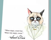 Grumpy Cat as Snark Twain - Funny Sticky Notes, Post-it Note Pad