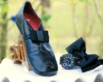 Black Tuxedo Shoe Clips Bow. Elegant Classic Event Wear. Fun Grosgrain Ribbon, Manly Men Man Unisex, Sophisticated Handmade Vintage Inspired
