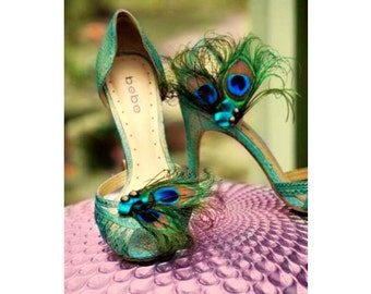 Fancy Shoe Clips Peacock & Teal Bow. Spring Wedding, Sophisticated Bride Bridesmaid, Bridal Party Gift, Burlesque Boudoir Turquoise Aqua Bow