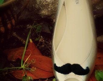 Black Mustache Shoe Clips Embellishment. Sir Mr Felt Curled Mustachio Stache Theme, Steampunk Wardrobe, Movember Fashionista Girly Girl Gift