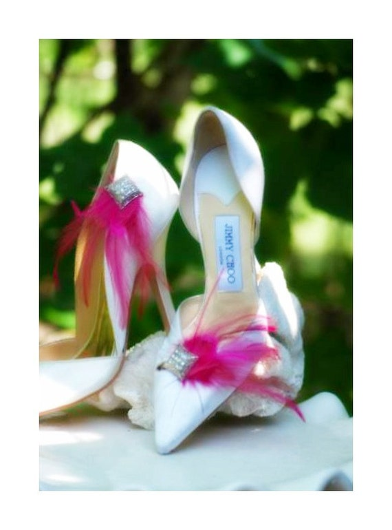 Shoe Clips Feather & Square Diamond Rhinestone Magenta. Also Ivory White Aqua Blue Teal Purple Red Green. Bride Bridal Bridesmaid Couture