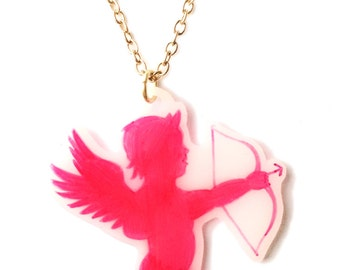Cupid Necklace - Valentine's - Pink Cupid Cherub Angel with Bow and Arrow - Bright Pink, Hot Pink - Love, Cute, Kitsch