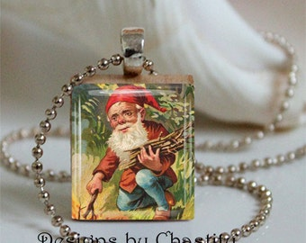 Gnome Scrabble Pendant Necklace