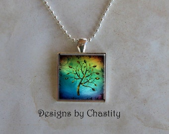 Abstract Tree Glass Pendant Charm Necklace - Chain Included