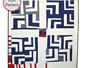 Modern Quilt PDF Pattern. Instant Download Improvisational Split Log Cabin Quilt Pattern by Peppermint Pinwheels