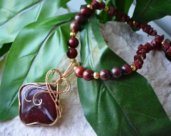 Dragon Blood Jasper Necklace - Gold Wire Wrapped Dragon Blood Jasper Necklace - Dragon Blood Pendant - Wire Wrapped Pendant