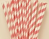 Paper Straws, 25 Peach Paper Drinking Straws, Pinky Peach, Vintage Wedding Paper Straws, Birthday Party Straws, Bridal Shower Paper Straws,