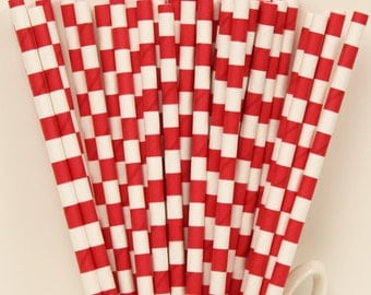 Paper Straws, MADE IN USA,  25 Red Sailor Striped Paper Straws, Red Paper Straws, Wedding Drink Bar, Drinking Straws, Birthday Paper Straws
