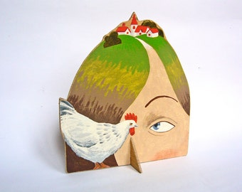 OOAK Hand painted plywood sculpture - Lady with Village on her Head and a chicken