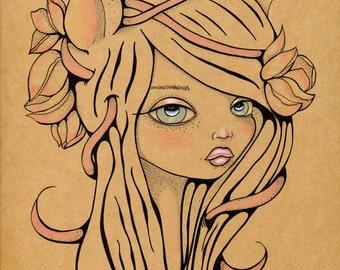 Flora Original Art Giclee fine art print 8x10
