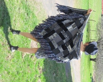Custom Harry and the Hippie Chic RECYCLED Upcycled OOAK Reconstructed FUNKY Poncho Shawl Cape