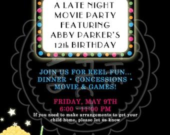 Movie Night Party Invitation - GIRL or BOY