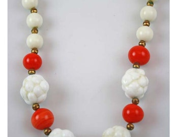 1940 White Milk Glass and Coral Colored Bead Necklace