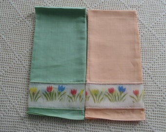 Vintage Hand Towels Peach and Green Linen