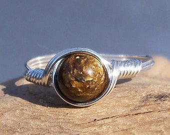 Bronzite Ring, Custom Sized Ring, Argentium Sterling Silver Ring, Wire Wrapped Ring